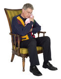 Mature Senior Old Man Grandpa, Baby Grandchild Isolated Stock Images