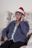 Mature Senior Woman Cell Phone Gossip Christmas Stock Photography