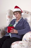 Mature Senior Woman Christmas Present Gift Box Stock Image