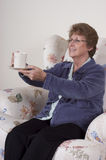 Mature Senior Woman Entertaining Drinking Coffee Stock Photos