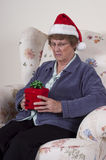 Mature Senior Woman Mad Angry Christmas Present Stock Photo