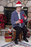 Mature Senior Woman Surprise Christmas Present Stock Photography