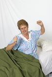 Mature Senior Woman Waking Up Good Night Sleep Royalty Free Stock Images