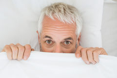 Mature shocked man covering face with sheet in bed Stock Photos