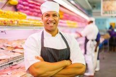 Mature shop butcher Stock Photos