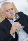 Mature sommelier smell at glass red wine royalty free stock images
