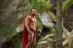Mature Spartan warrior in the woods stock photos