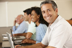 Mature student in class Stock Images