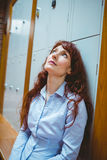 Mature student feeling stressed in hallway. At the university stock photography