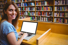 Mature student in the library using laptop Stock Photography