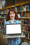 Mature student in library using laptop Stock Photography
