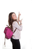 Mature student pointing. stock image