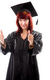 Mature student showing thumbs up sign with both hands Stock Image