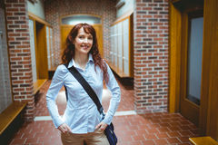 Mature student standing in the hallway Royalty Free Stock Photo