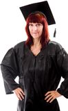 Mature student standing with her arms akimbo Royalty Free Stock Photos