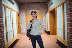 Mature student standing in the locker room Stock Photo