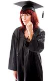 Mature student standing and showing her fist Royalty Free Stock Photos