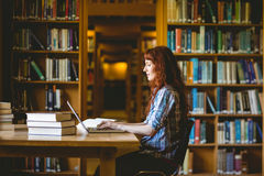 Mature student studying in library Stock Photo
