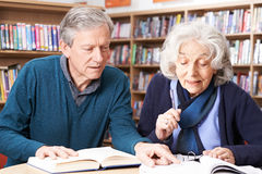 Mature Student Working With Teacher In Library Stock Image