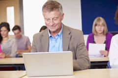 Mature Students In Further Education Class royalty free stock photography