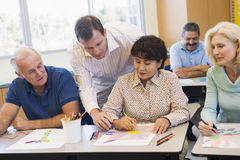 Mature students learning art skills Royalty Free Stock Photography
