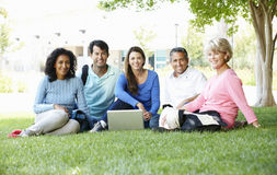 Mature students outdoors Royalty Free Stock Photos