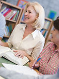 Mature students studying in library Royalty Free Stock Photo