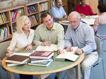 Mature students studying together in library Royalty Free Stock Photo