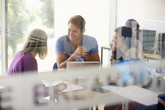 Mature Students Working In College Breakout Area royalty free stock images