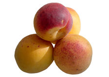 Mature sweet peaches. Beauty breakfast bright certificate clean color cut dessert diet feed royalty free stock photos