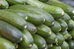 Mature and tasty green ripe zucchini. On market place. Natural organic diet. r Stock Photo