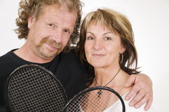 Mature tennis couple Royalty Free Stock Image