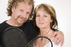 Mature tennis couple royalty free stock image