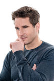 Mature thinking pensive  man portrait Stock Photography