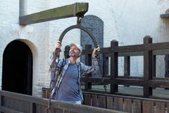 Tourist in Gradara castle. Mature tourist in Gradara castle, Italy Royalty Free Stock Photography