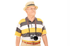 Mature tourist walking Royalty Free Stock Images