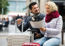 Mature tourists couple outdoor Royalty Free Stock Photo