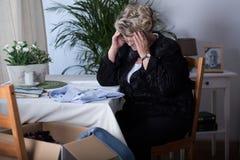 Mature widow crying Royalty Free Stock Photos
