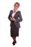 Mature woman. Senior business woman (on fifties) standing with positive attitude Royalty Free Stock Photos