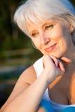 Mature woman. Portrait of positivity senior woman stock image