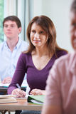 Mature Woman In Adult Education Class Stock Image