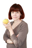 Mature Woman with an Apple Isolated Royalty Free Stock Image