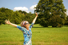 Mature Woman Arms Stretched Out Nature Summer Royalty Free Stock Photography