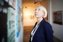Mature Woman in Art Gallery stock image