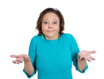 Mature woman asking what's the problem? Royalty Free Stock Image