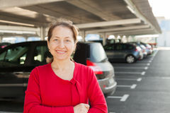 Mature Woman At Parking Stock Photo