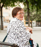 Mature woman  in autumn Stock Photo