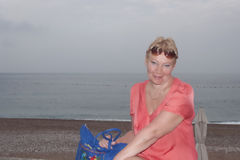 A mature woman on the background of Adriatic Sea Royalty Free Stock Photos