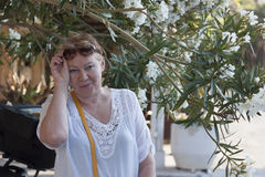 A mature woman on a background of oleander royalty free stock photo