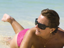 Mature Woman in the Beach Royalty Free Stock Photo